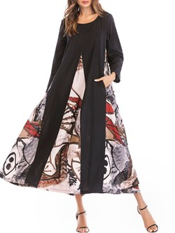 Shoespie Patchwork Expansion Western Women's Maxi Dress