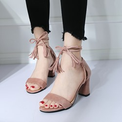 Fringe Open Toe Lace-Up High Heels
