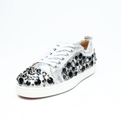 Rivet Rhinestone Lace-Up Silver Sneakers
