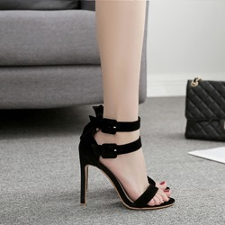 Black Buckle Open Toe Suede Stiletto Heels