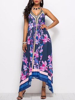 Shoespie Asymmetric Lace-Up Women's Maxi Dress