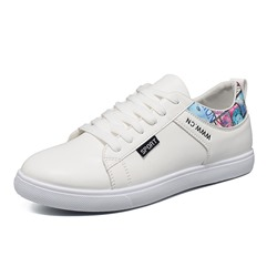 Print Round Toe Lace-Up Casual Men's Sneakers