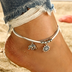 Bohemian Elephant Sun Combination Multilayer Anklets