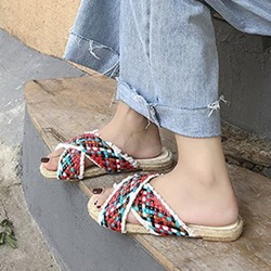 Fringe Woven Slip-On Flat Sandals