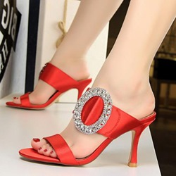 Rhinestone Slip-On Stiletto Sexy Mules