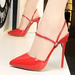 Closed Toe Ankle Strap Stiletto High Heels