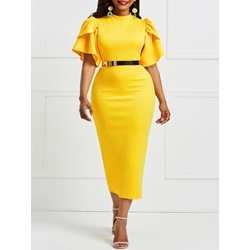 Shoespie Falbala Patchwork Ruffles Women's Bodycon Dress