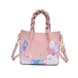 Cartoon Synthetic Leather Knitted Tote Bag