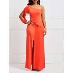 Oblique Collar Hollow Women's Maxi Dress