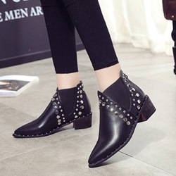 Black Rivet Pointed Toe Slip-On Sexy Boots