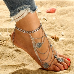 Antique Silver Coin Design Multi-Layer Anklets