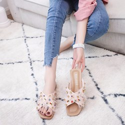 Rivet Slip-On Rhinestone Sandals