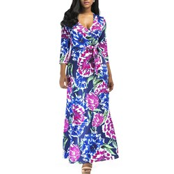 Shoespie Floral Belt Print Women's Maxi Dress
