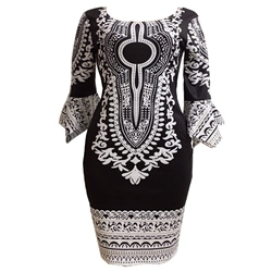 Shoespie Print Round Neck Women's Bodycon Dress