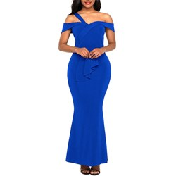 Shoespie Blue Falbala Western Women's Bodycon Dress