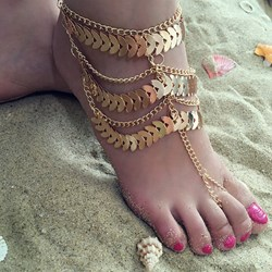 Multilayer Sequins Tassel Anklets