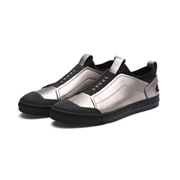 Black Slip-On Low Upper Casual Sneakers For Men