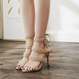 Open Toe Lace-Up Woven Stiletto High Heels