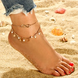 Sparkling Pearl Star Double Anklets