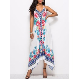 Shoespie Backless Lace-Up Printing Women's Maxi Dress
