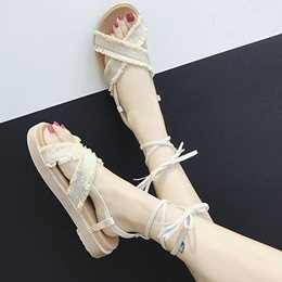Fringe Platform Ankle Strap Lace-Up Flat Sandals