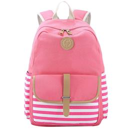 Shoespie Canvas Stripe Belt Decorated Women Backpack