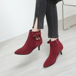 Bow Side Zipper Pointed Toe High Heels Boots