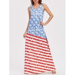 Shoespie Print Expansion Star Women's Maxi Dress