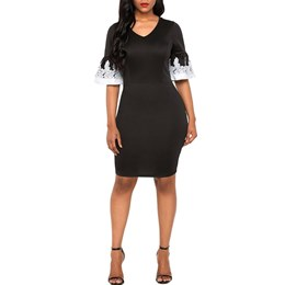 Shoespie Patchwork Flare Sleeve Women's Bodycon Dress