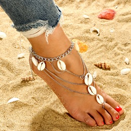 Shell Decorated Multi-Layer Anklets