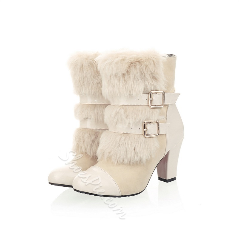 Sexy Round Toe Hasp High Heels Boots