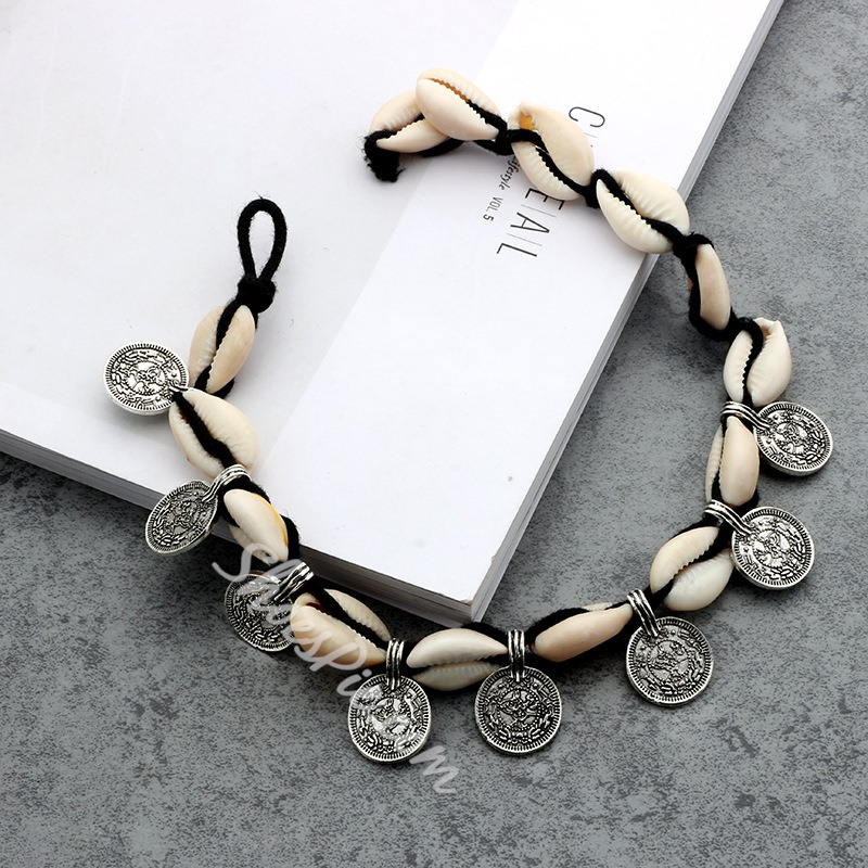 Antique Silver Coin Pendant E-Plating Anklets