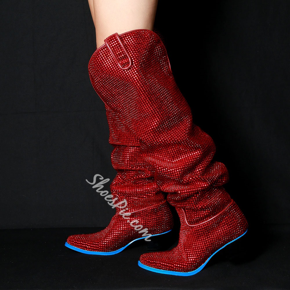 Shoespie Rhinestone Slip-On Red Boots