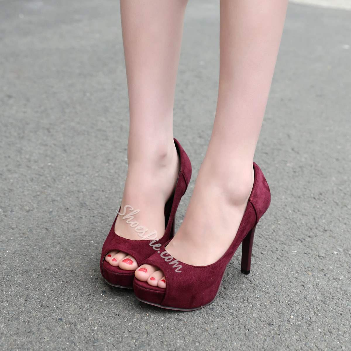Suede Slip-On Peep Toe Platform Stiletto High Heels