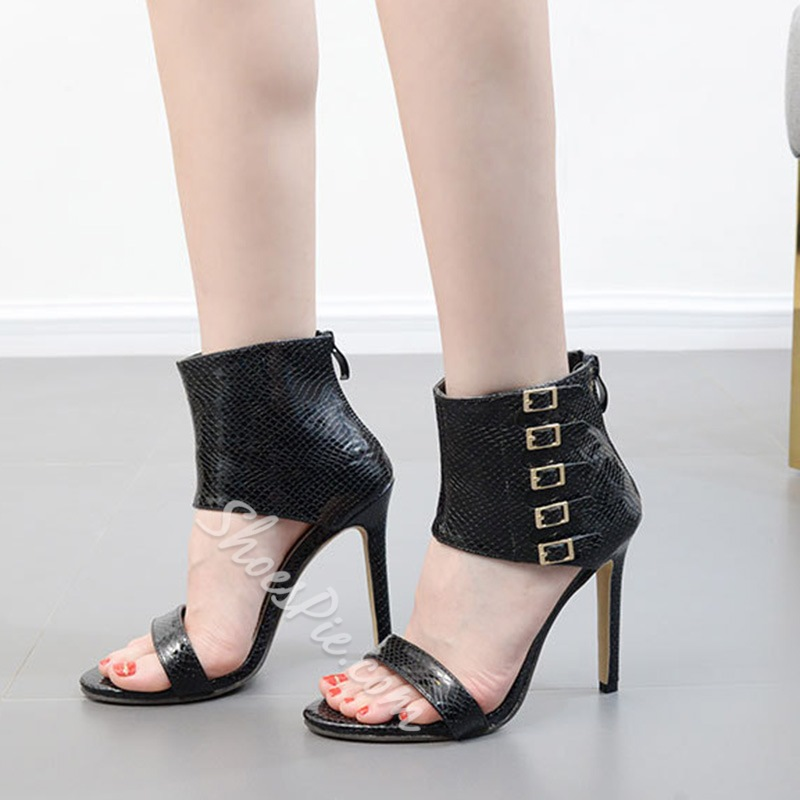 Black Buckle Zipper Open Toe High Upper Stiletto Heels