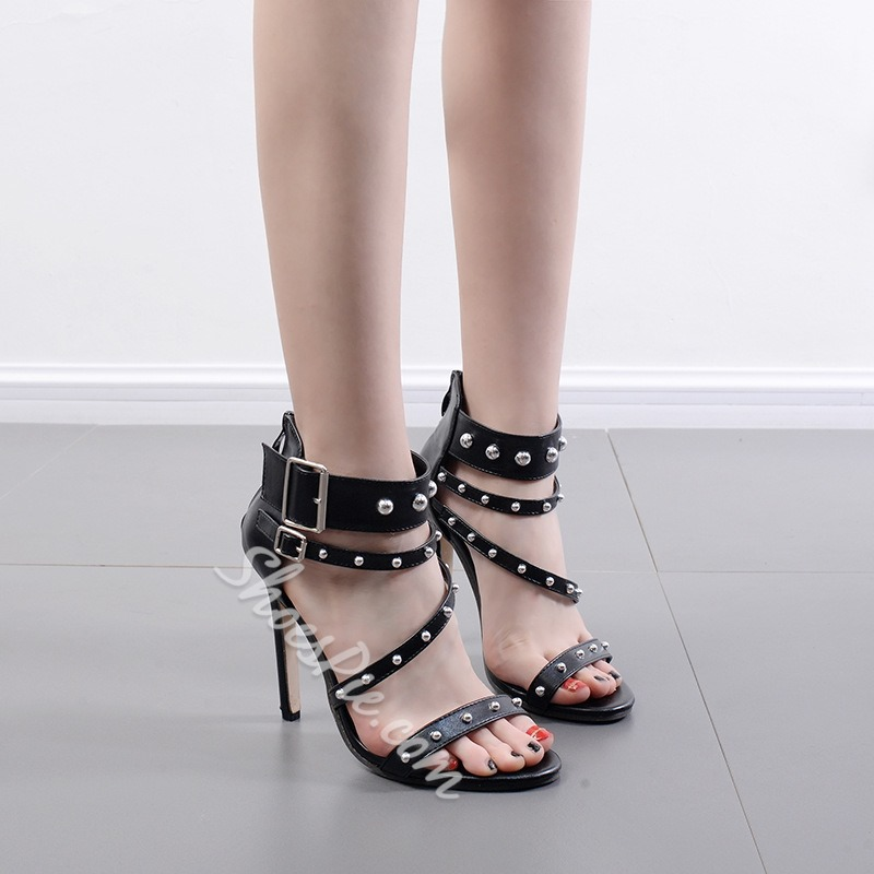 Rivet Buckle Zipper Open Toe Stiletto Heels