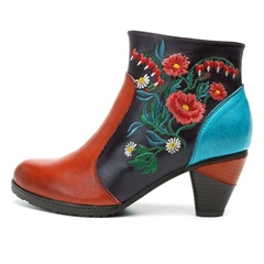 Shoespie Orange Floral Brush Off Fashion Ankle Boots