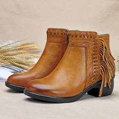Shoespie Fringe Thread Brush Off Ankle Boots