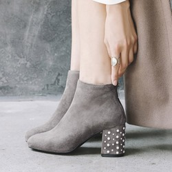 Shoespie Beads Chunky Heel Back Zip Ankle Boots
