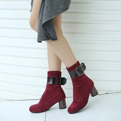 Shoespie Casual Buckle High Heel Ankle Boots