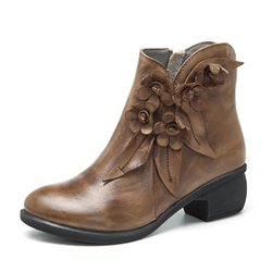 Shoespie Thread Brush Off Floral Ankle Boots