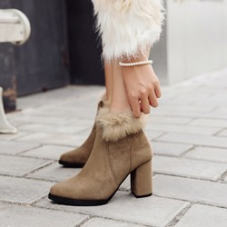 Shoespie Suede Plain Chunky Heel Ankle Boots