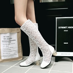 Shoespie Hollow Lace Chunky Heel Knee High Boots