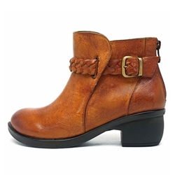 Shoespie Thread Buckle Brush Off Ankle Boots