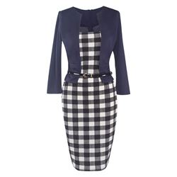 Shoespie Plaid Office Lady Women's Bodycon Dress