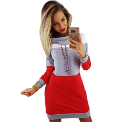Above Knee Patchwork Turtleneck Winter Women's Casual Dress