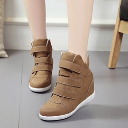 Shoespie Mid-Cut Velcro Hidden Elevator Heel Sneakers