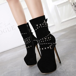 Shoespie Black Suede Platform Stiletto Heel Ankle Boots