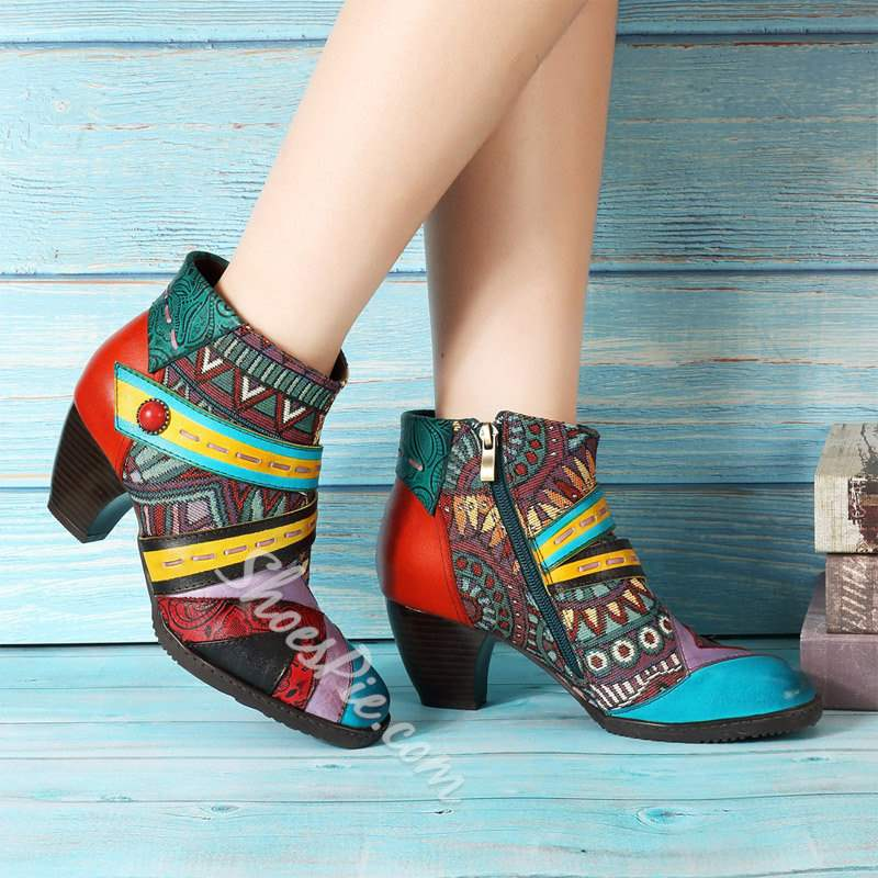 Shoespie Red Chunky Heel Thread Engraved Flower Ankle Boots