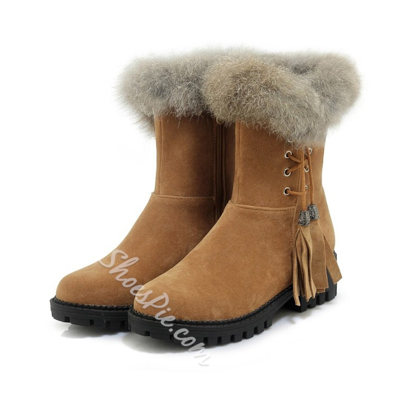 Shoespie Casual Tassel Fluffy Side Zipper Snow Boots